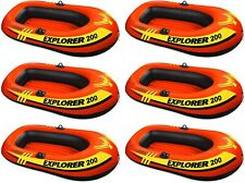 6 Pack Intex 2 Person Explorer 200 Inflatable River Boat Raft for Kids, Adults