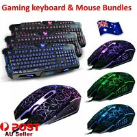 Optical Gaming Mouse & LED Backlit USB Wired Gaming Keyboard Set For PC Laptop