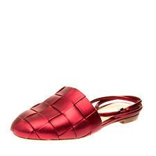 RRP€565 MARCO DE VINCENZO Leather Ankle Strap Mule Shoes EU39 UK6 US9 Metallic