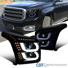 For GMC 15-18 Yukon/ Yukon XL Glossy Black LED Bar & Signal Projector Headlights