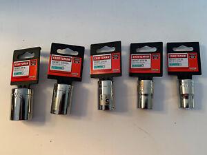 "Craftsman 1/2"" Drive 6 pt Sockets (5) - 1/2, 9/16, 5/8, 11/16, 3/4"