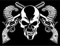 Skull Cross Bone Guns Pistol Bullets Car Truck Window Vinyl Decal Sticker