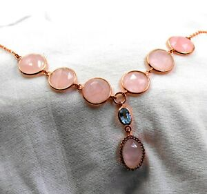 Solid 925 Sterling Silver Rose Gold Plated Rose Quartz Necklace Birthday Gift