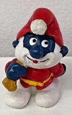 Vintage 1981 Schleich Peyo Smurfs PVC Figure Santa Papa Smurf White Horn