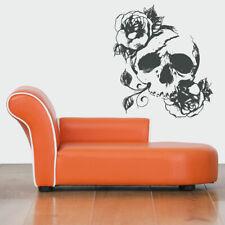 Wall Art Vinyl Room Sticker Decal Mural Skeleton Scull With Roses Flowers bo138
