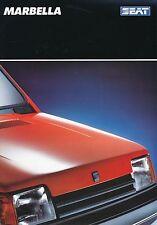 Seat Marbella Prospekt 7 89 brochure 1989 Auto PKWs Autoprospekt Broschüre