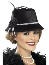 WOMEN'S FANCY DRESS 1920's HAT, BLACK, WITH BEADS AND FLOWER.