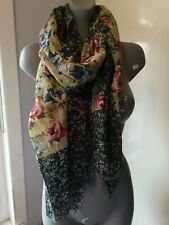 Tulchan Scarf Floral Print Olive Green Pink Blue New Without Tags Freepost