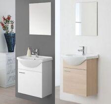 Mobile Arredo bagno sospeso bianco rovere laccato specchiera 56 lavabo ceramica|