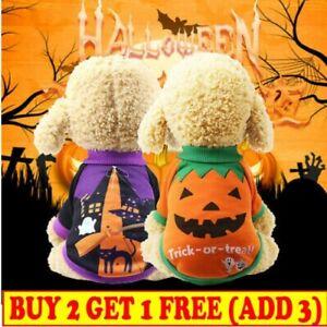 Halloween Puppy Dog Pumpkin Dress Pet Cat Cotton Vest Clothes Costume Suit