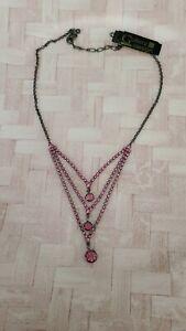"14""  gun metal 3 tier necklace pink rhinestones 3"" extender fashion jewelry"