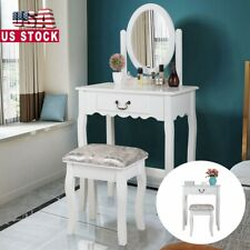 Makeup Vanity Set Dressing Table with Rotating Mirror 1 Drawer w/Cushioned Stool