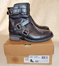 Women's UGG Finney Black Leather Ankle / Motorcycle Boots 6  M
