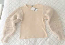 Ladies Zara Chunky Knit Contrasting Top With Puff Sleeves In Ecru M BNWT