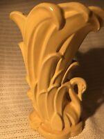 Vintage 1940's McCoy Pottery Swan Vase 9 1/4 inches Ornate Art Detailed EUC!!!