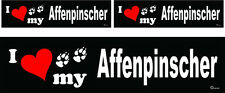 (3) I love my Affenpinscher dog bumper vinyl stickers decals 1 large 2 small