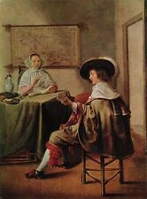 Oil painting portraits Jan Miense Molenaer Duet woman singing man playing canvas