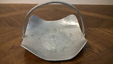 Vintage Hand Forged Everlast Metal Aluminum Tray With Handle Floral Design