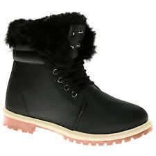 WOMEN LADIES ANKLE FUR LINE BOOTS FLAT GRIP SOLE WINTER ARMY COMBAT WINTER SHOES