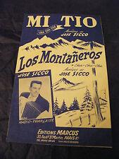 Partition Mi Tio José Sicco Los Montaneros Music Sheet Cha Cha Cha 1957