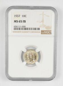 MS65 FB 1937 Mercury Dime - Graded NGC *911
