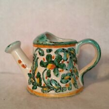 "Watering Can White w/Green Florals Yellow-Orange Accents 5"" Tall 4½"" Round Base"