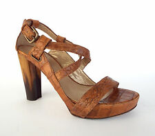 STUART WEITZMAN Size 7 Brown Alligator Print Sandals Heels Shoes