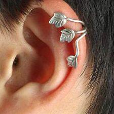 SILVER EAR CUFF CLIP WRAP LEAF EARRING GOTHIC PUNK ROCK GIFT STUD piercing FREE