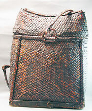 BASKET ASIAN WICKER CONTAINER BONTOC BAMBOO UTILITY HANDMADE PHILIPPINES ETHNIX