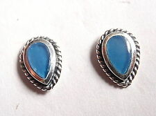 Chalcedony Cabochon Rope Style Accents Stud Earrings 925 Sterling Silver