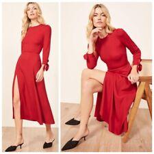 REFORMATION Cherry Red ZELDA High Slit Crepe Midi Dress 8 ~ M