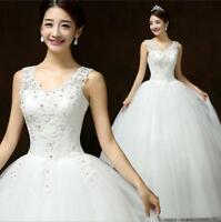 Fashion Women's Wedding Noble Long Sleeveless Embroidery Beads Ball Grown Dress