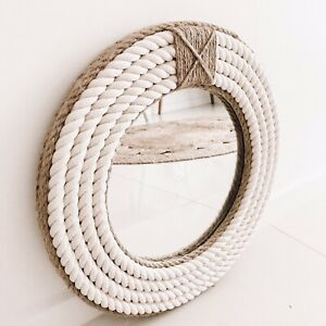 Handmade Round Rope Twisted Mirror Hampton Nautical Design Home Decor 41cm