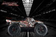 """ARRMA OUTCAST TRUCK WRAP GRAPHICS DECALS """"GEARHEAD"""" GRAY RED FITS OEM BODY PARTS"""