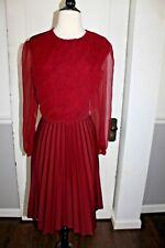 Vintage 70s 80s Retro Long Dress Burgundy Long Sleeve Maxi Sheer Pleated Medium