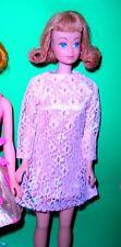 Vintage 1970 Barbie Stacey Maddie Mod Pink Lace Mini Dress Mint