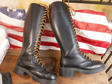 DR. DOC MARTENS LEATHER BOOTS WOMEN'S 5 6 BLACK TALL 20 EYELET AIR SOLE ENGLAND