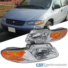 1996-2000 Caravan Town & Country Voyager Chrome Headlights Head Lamps Left+Right