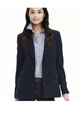 NEW Banana Republic Womens Hacking Jacket Blazer Navy Speckled Sz 4 Lined