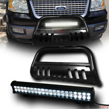 Black Steel Bull Bar Grill Grille Guard+120W Cree Led Fog Light 04-18 Ford F150