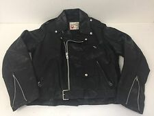 VINTAGE MOTORCYCLE JACKET SEARS THE LEATHER SHOP MENS BLACK LEATHER SZ 42 USA
