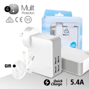 4 Ports USB mobile wall charger Adapter for Apple iPhone iPad Samsung