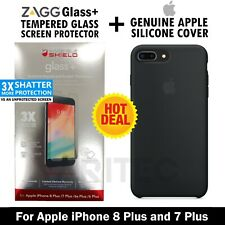 Genuine Apple iPhone 8+ 7 Plus Silicone Case Cover + Zagg Glass Screen Protector
