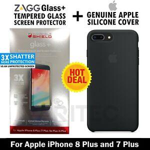 Genuine Apple iPhone 8+ 7 Plus Silicone Case Cover + Zagg Glass Screen Protector