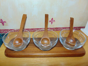 Windsom Wood Serving Dishes with Spoons - Teak & Glass