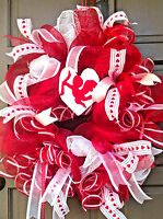 Handmade Valentine's Day Cupid Red White Deco Mesh Ribbon Wreath Wall Door Decor