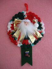 Red White Green Crochet Wreath Santa Face Green Ribbon Holiday Stocking Ornament