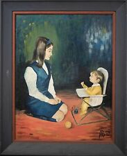 "Alberta Babcock Mid Century Oil Painting ""Mother and Baby"" Unique & BEAUTIFUL!"