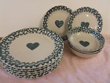 Tienshan Folk Craft Green Sponge Ware Hearts Dishes Lot of 11 EUC