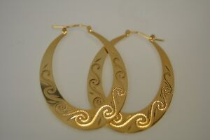 9ct Gold Solid large Flat Oval Earrings